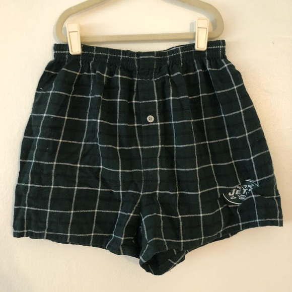 52816fcb NFL NY Jets Plaid Flannel Boxer Shorts